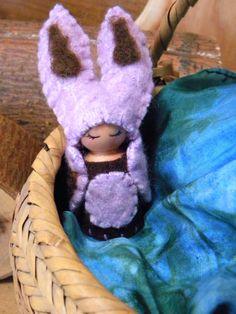 Waldorf Peg Doll, Honey Bunny Gnome, Rabbit, Easter goft, Girl, Spring, lavender, chocolate brown. $26.00, via Etsy.