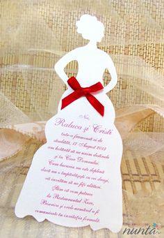 Invitatie de nunta moderna,crem, in forma de mireasa cu fundita rosie.