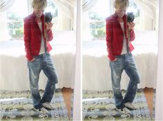 love the star sneaks and red blazer