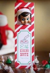 Cute Elf Kissing Booth for your Elf on the Shelf! Printable design by Amy Locurto at LivingLocurto.com