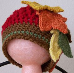 Adorable for a Thanksgiving Parade  Red Autumn Leaf Beanie  Crochet Baby Beanie by GenaBsHandmade, $20.00