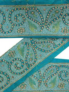 Vintage Sari Border Antique Embroidered Indian Trim Blue Ribbon 1YD Used Lace ValueVintage http://www.amazon.com/dp/B0176EW5UU/ref=cm_sw_r_pi_dp_U15Nwb1Z1MY4T