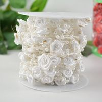 white Pearls Beads garland Satin Rose Ribbon flower Trim Pearl String Appliques for Wedding Party Decoration 2 M Pearl Garland, Beaded Garland, Ribbon Flower, Satin Roses, Pearl Beads, Pearl White, Appliques, Party Supplies, Candle Holders