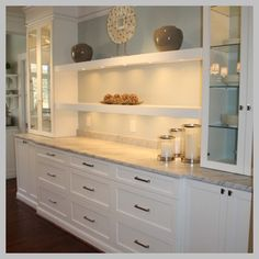 Elegant White Shaker Kitchen Cabinets - Built-in Buffet Design Ideas, Pictures, Remodel, and Decor – page 7 - Kitchen Pantry Design, New Kitchen, Kitchen Decor, Kitchen Ideas, 1960s Kitchen, Country Kitchen, Kitchen Themes, Kitchen Furniture, Vintage Kitchen