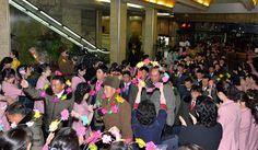 조선인민군 제4차 수산부문열성자회의 참가자들 평양 도착