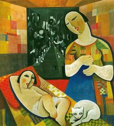 Béla Kádár (Hungarian 1877–1956) [Cubism, Expressionism, Cubo-Expressionism] Mother with His Child.