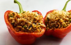 Stuffed Peppers with Bulgur Wheat and Vegetable Medley