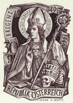 Austria Stamp - Skull and Saint Gebhard of Constance
