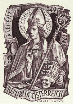 Austria Stamp - Skull and Saint Gebhard of Constance