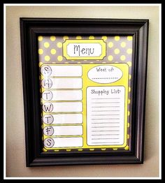 Dry erase framed 8x10 menu planner by BEaBLESSING12 on Etsy, $20.00