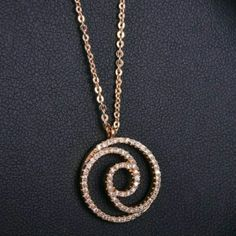 "Gorgeous!! Rose Gold Plated Spiral Pendant Gorgeous Rose Gold Plated Spiral Cubic Zerconia Pendant with a 15"" Rose Gold Plated Chain Necklace Jewelry"