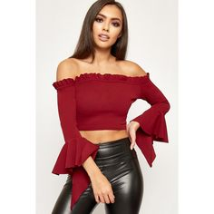WearAll Ruffle Trim Bell Sleeve Bardot Crop Top (36 NZD) ❤ liked on Polyvore featuring tops, wine, red crop top, ruffle top, flounce tops, short crop tops and frill crop top