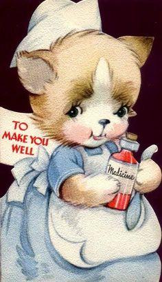 Vintage Nurse-Cat Get Well Card