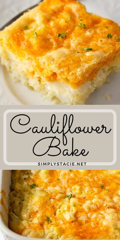Cauliflower Bake - Cauliflower, cheese and a convenient biscuit mix make a fantastic side dish. Even those that don't love cauliflower will love this one! Veggie Side Dishes, Vegetable Dishes, Vegetable Recipes, Cauliflower Dishes, Baked Cauliflower, Cauliflower Casserole, Healthy Low Carb Recipes, Vegan Recipes Easy, Healthy Options