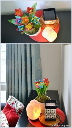 How to decorate with paper tulips for spring - Craftionary . Tulips Flowers, Flower Vases, Flower Pots, Paper Flowers, Floral Foam, Spring Activities, How To Make Paper, Hanging Baskets, Handmade Flowers