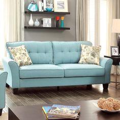 Furniture of America Primavera Modern Linen Sofa - Overstock™ Shopping - Great Deals on Furniture of America Sofas & Loveseats
