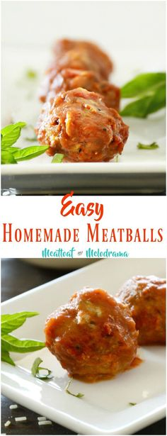 Homemade Meatballs - Made with beef and pork, baked and then simmered in marinara sauce until done. Meatloaf and Melodrama