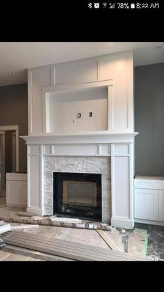 ELECTRIC/GAS FIREPLACE. #makeoverfireplacediy Fireplace Update, Living Room With Fireplace, Gas Fireplace Mantel, Electric Wall Fireplace, Fireplace Diy Makeover, Fireplace Mantle Decorations, White Mantle Fireplace, Fireplace Trim, Wooden Fireplace Surround