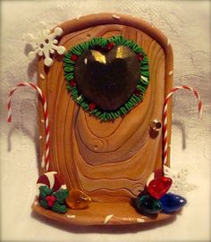 CHRISTMAS ELF Fairy DOOR - Polymer Clay Magical Portal to the North Pole  $26.50 by @KatersAcres