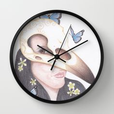 Crow clock. #art #clock #skull #butterfly