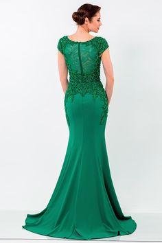 Terani Evenings 1522E0469 Estelle's Dressy Dresses in Farmingdale , NY Dressy Dresses, Aqua Dresses, Long Dresses, Evening Dresses With Sleeves, Terani Couture, Bead Caps, Cap Sleeves, Elsa, Bodice