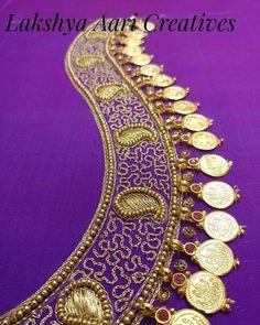 Lakshmi coins and Pendant work blouse! - Lakshmi coins and Pendant work blouse! Saree Jacket Designs, Designer Blouse Patterns, Bridal Blouse Designs, Pattu Saree Blouse Designs, Hand Work Blouse Design, Simple Blouse Designs, Aari Work Blouse, Maggam Work Designs, Beaded Jewelry Designs