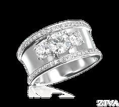 Wide Band 3-Stone Ring with Pave Trim