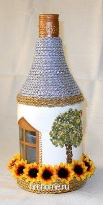 70 Amazing DIY Recycled and Upcycling Projects Ideas - Ideaboz Wine Bottle Art, Diy Bottle, Wine Bottle Crafts, Jar Crafts, Diy And Crafts, Wine Bottles, Plastic Bottle Crafts, Jar Art, Art N Craft