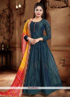 Handwork Silk Designer Gown in Green Silk Anarkali Suits, Anarkali Gown, Green Silk, Teal Green, Dark Teal, Abaya Fashion, Fashion Dresses, Readymade Salwar Kameez, Yellow Gown
