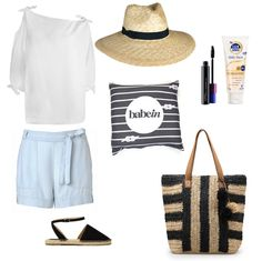 Top: Zimmermann Winsom Tie Blouse; Shorts: Witchery; Shoes: Spurr Shoes Melody Espadrilles; Hat: Ace Of Something Arizona; Babywearing Wrap: Babein Knot Another Stripe; Bag: Country Road Bold Stripe Raffia Tote; Sunscreen: Ego Suncare Sunsense; Mascara: Mac Haute & Naughty Waterproof    http://shop.babein.com.au/product/knot-another-stripe-wrap