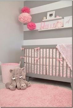 Yullis Nursery: a softly modern chic nursery with touches of grey, pink, and Babyletto Hudson Convertible Crib in Grey! Beautiful Nursery in Pink and Grey! Chic Nursery, Nursery Room, Luxury Nursery, Baby Bedroom, Girls Bedroom, Baby Rooms, Room Baby, Kids Rooms, Child Room