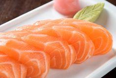 omnomnom salmon sashimi with a pretty wasabi leaf. a little plating goes a long way!