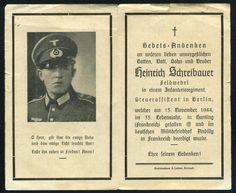 orig. WK2 STERBEBILD - DEATH CARD - WESTFRONT - FRANKREICH 1944 - HUNTING