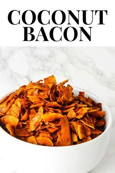 Crispy and smoky flavored Coconut Bacon is the perfect replacement for bacon, it tastes delicious in a BLT sandwich, dip, potato salad Top Recipes, Brunch Recipes, Appetizer Recipes, Whole Food Recipes, Dog Food Recipes, Breakfast Recipes, Vegetarian Recipes, Cooking Recipes, Healthy Recipes