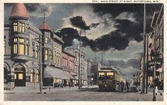 Main Street at Night, Watertown, Wis.