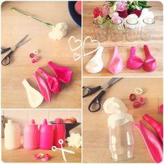 vase pot yaourt en verre recouvert de ballons