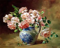 Roses in a Blue and White Jug - Limited Edition Print | Mill House Fine Art – Publishers of Anne Cotterill Flower Art