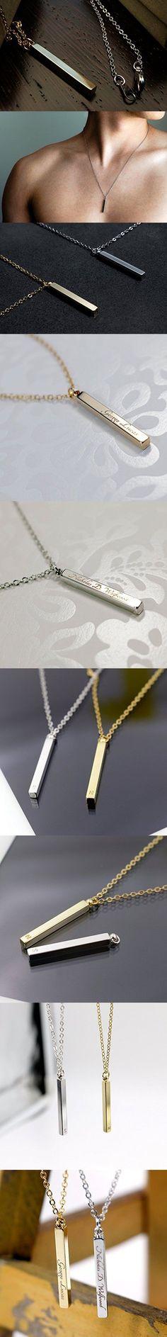 Vertical Bar Custom Necklace
