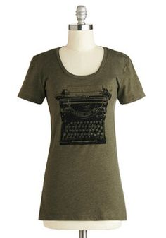 Love, love, love!!  On the Write Track Top. Whether youre an aspiring novelist, an avid journaler, or simply a fan of prose, you can appreciate the screenprinted vintage typewriter on this olive-green tee! #green #modcloth