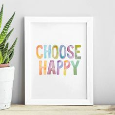 'Choose Happy' Watercolour Typography Art Print. Add a touch of modern inspiration and whimsy to your home decor with our giclée typography print, exclusive to Not on the High Street!