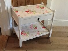 Beautiful trolley table with drawer, finished in Dove Grey & Cath Kidston Vintage Rose. For sale at £60