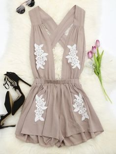 SHARE & Get it FREE | Halter Floral Patched Open Back Romper - Yellowish Pink SFor Fashion Lovers only:80,000+ Items • New Arrivals Daily Join Zaful: Get YOUR $50 NOW!