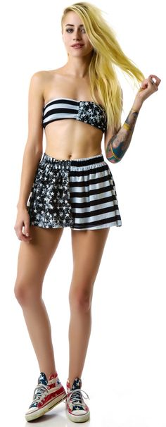Lafine US Flag Flare Shorts   Dolls Kill