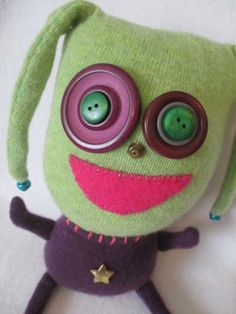 Sneetch, a stuffed monster toy, handmade monster plushie by creaturesnorthwest for $34.00