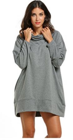 Zeagoo Women Cowl Collar Raglan Sleeve Solid Loose Pullover Hoodie Dress Large Gray ** Read more at the image link. Long Hoodie Dress, Sweatshirt Dress, Different Dress Styles, Pullover Hoodie, Raglan, Tops For Leggings, Casual Outfits, Sweatshirts, Clothes