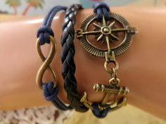 Navy Anchor Bracelet - Infinity Bracelet - Compass Anchor Bracelet, Girlfriend Gift, Navy Girlfriend, Sailor Charms. $6.49, via Etsy.