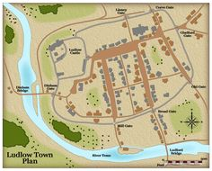 This imaginative map shows the size and layout of medieval Ludlow. The town was surrounded by a stone wall with several fortified gates. The castle occupies the north-west corner of the town. Its northern and western sides are protected by steep cliffs and a ditch was dug to protect its southern and eastern sides. To the south of the town a mill was constructed driven by the flow of the River Teme.