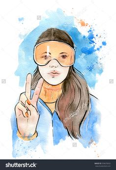 Nice young woman in sweater and sport goggles. Winter illustration.