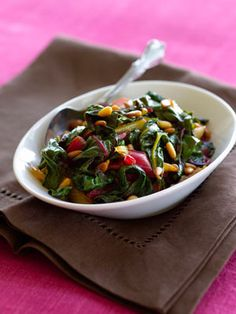 Stir-Fried Swiss Chard with Pine Nuts and Balsamic Butter