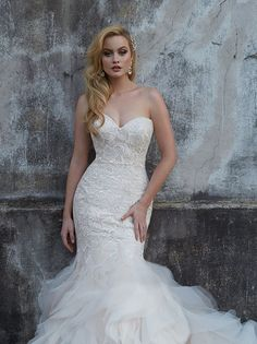 9254 from Allure Bridal. Strike a statuesque silhouette in this embroidered sheath, finished with a wealth of organza ruffles at the hem. Wedding Dress Prices, Bridal Wedding Dresses, Bridesmaid Dresses, Wedding Bells, Bridal Gallery, Wedding Gallery, Bridal And Formal, Mermaid Dresses, Allure Bridals